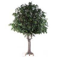 Chene arbre artificiel H 350 cm L 280 cm tronc bois et fibre sur platine