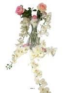 Orchidée blanche en tige retombante, H 190 cm