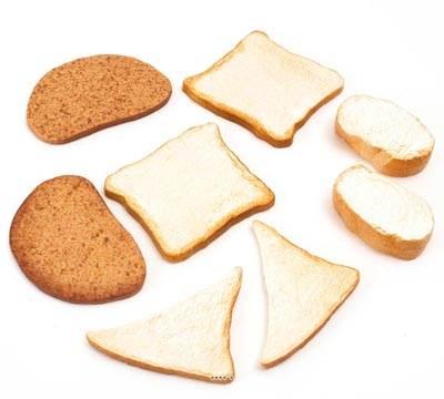 Tranches de pains artificiels assortis en lot de 8 en Plastique soufflé