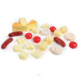 Assortiment de 24 fromages artificiels en plastique soufflé