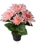 Dalhia commun artificiel en pot, 5 fleurs, H 30 cm Rose