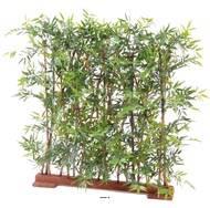 Bambou feuillage Plastique anti UV en Haie sur socle bois long 110 cm H 110 cm Vert