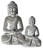 Bouddha assis en ciment H 21 cm pour une parfaite zenitude