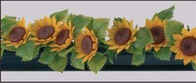 Barrette X12 entre plats separateurs socle noir L 25 cm fleurs de tournesol plastique