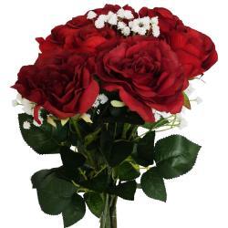 Bouquet artificiel création fleuriste rouge amour x9 roses H 75 cm