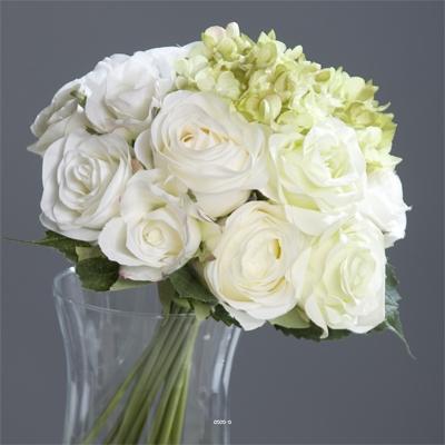 Bouquet de Roses et Hortensias artificielles Blanc-Vert 13 tetes Diametre 28 cm