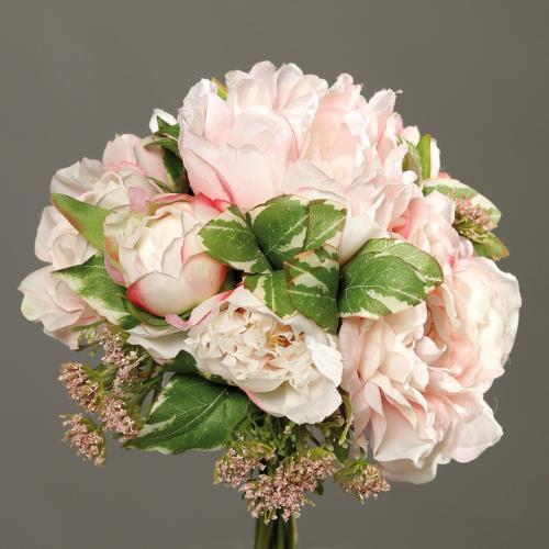 Bouquet de Pivoines et Carottes sauvages artificielles 7 fleurs  H 20 cm Rose pâle