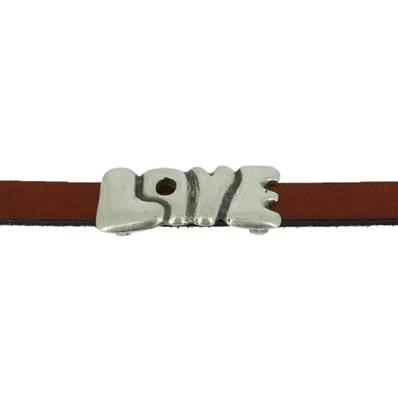 Coulissant LOVE - Lanière de 10 mm - ARGENT VIEILLI
