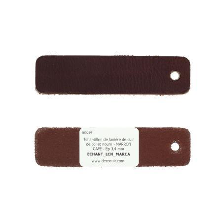 Échantillon de lanière de cuir de collet nourri - MARRON CAFÉ - Ép 3,4 mm