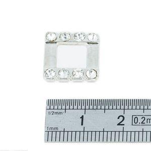 Passant décoratif carré à strass - NICKELE - 8 mm