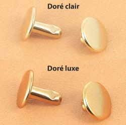 Lot de 100 gros rivets DOUBLE CALOTTE en laiton (T6) finition Doré luxe
