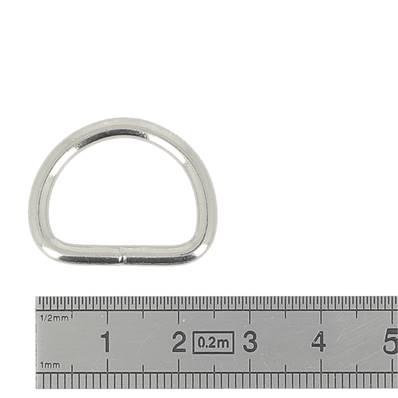 Anneau demi rond soudé - acier NICKELE - 20x15x3 mm