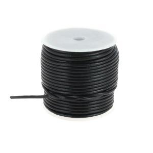 Lacet en cuir rond - diam 2,5 mm - NOIR