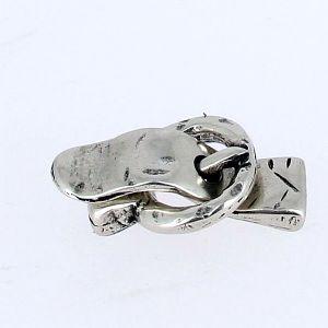 Fermoir pour bracelet - Boucle ronde - Argent vieilli - lanière 10 mm