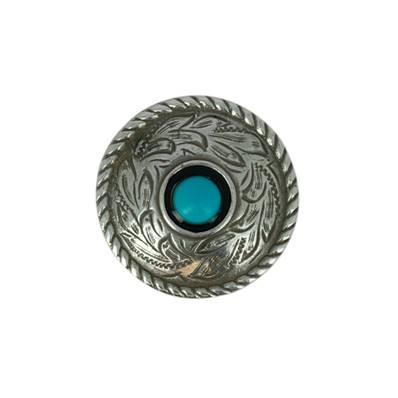 Concho ROND motif feuilles avec turquoise - ARGENT VIEILLI - 25 mm