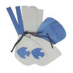 Kit chaussons en cuir pour bébé - Gris souris / Bleu océan / Poisson