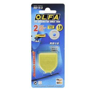 Lot de 2 lames de rechange OLFA RB18-2 diam 18 mm - Découpe droite