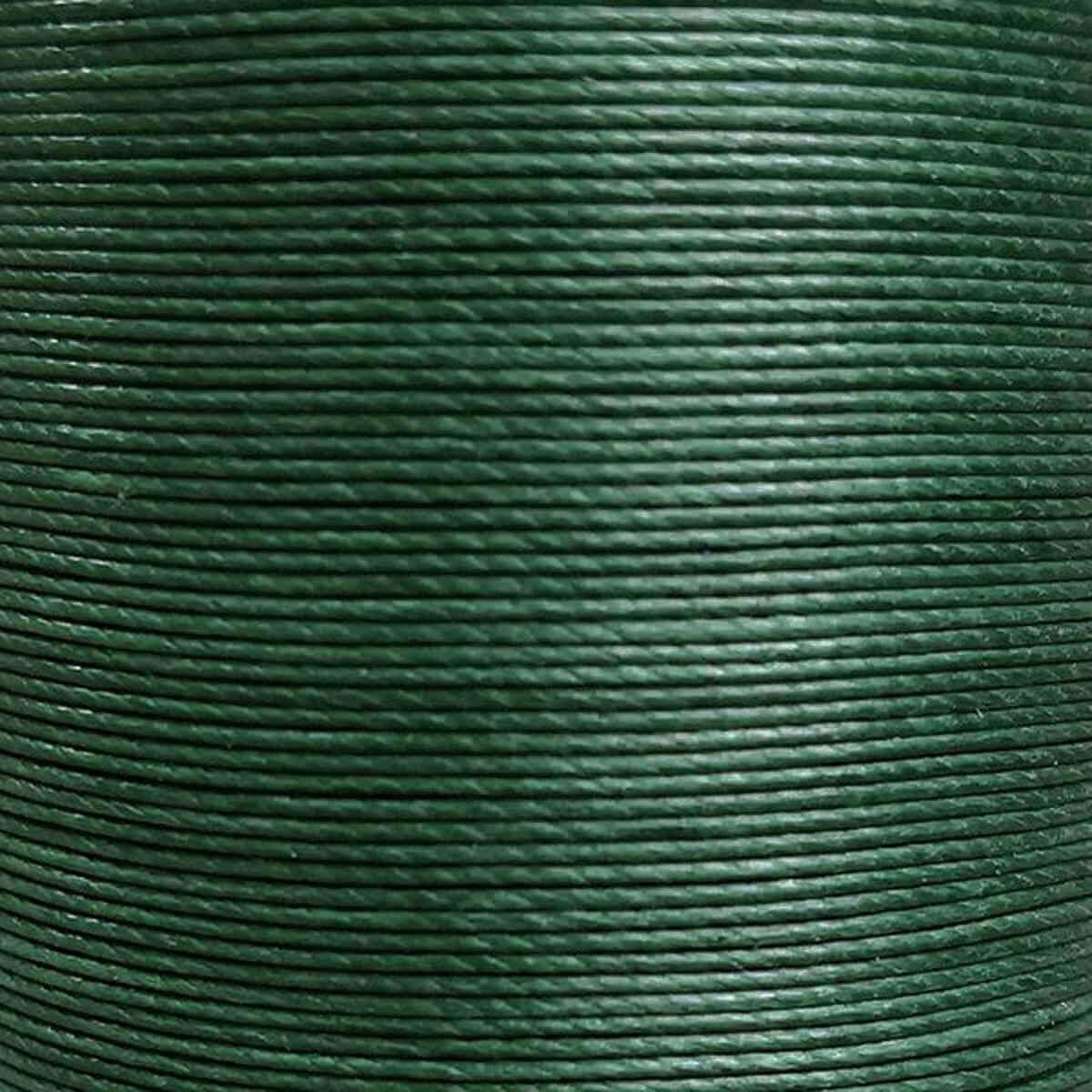 Bobine de 80m de fil de lin ciré MeiSi super fine M50 - 0,55 mm - VERT FONCÉ - MS026