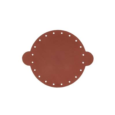 Cuir déja coupé pour faire une bourse en cuir MARRON - Diamètre 14,5 cm