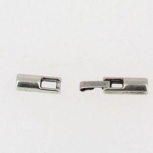 Fermoir bijou - Fermeture clip - Argent vieilli - Lacet rond 2 mm