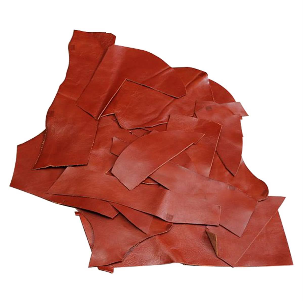 Lot de 1 kg de chutes de cuir LUXE - BRIQUE