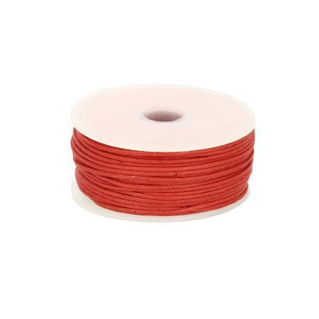 Bobine 25 m lacet coton tressé ciré 1 mm - ROUGE