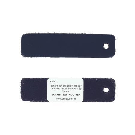Échantillon de lanière de cuir de collet - BLEU MARINE - Ép 3,4 mm