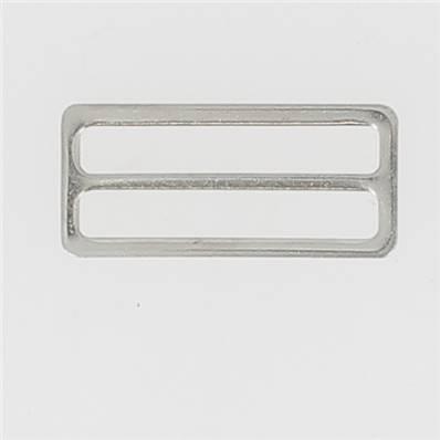 Passant double rectangulaire et plat - Nickelé - 40 mm