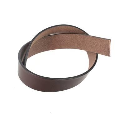 Sangle - Lanière de collet végétal MARRON CHOCOLAT - Tranches Noir - 60x3 cm - Ép 3,5 mm