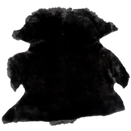 Peau de mouton lainé lisse - Dos velours - NOIR C17