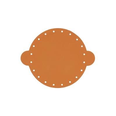 Cuir déja coupé pour faire une bourse en cuir CARAMEL - Diamètre 14,5 cm