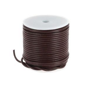 Lacet en cuir rond - diam 2,5 mm - MARRON