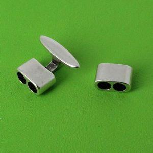 Fermoir bijou - Argent vieilli - Lacet rond 5 mm