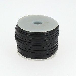 Lacet en cuir plat - largeur 3 mm - NOIR