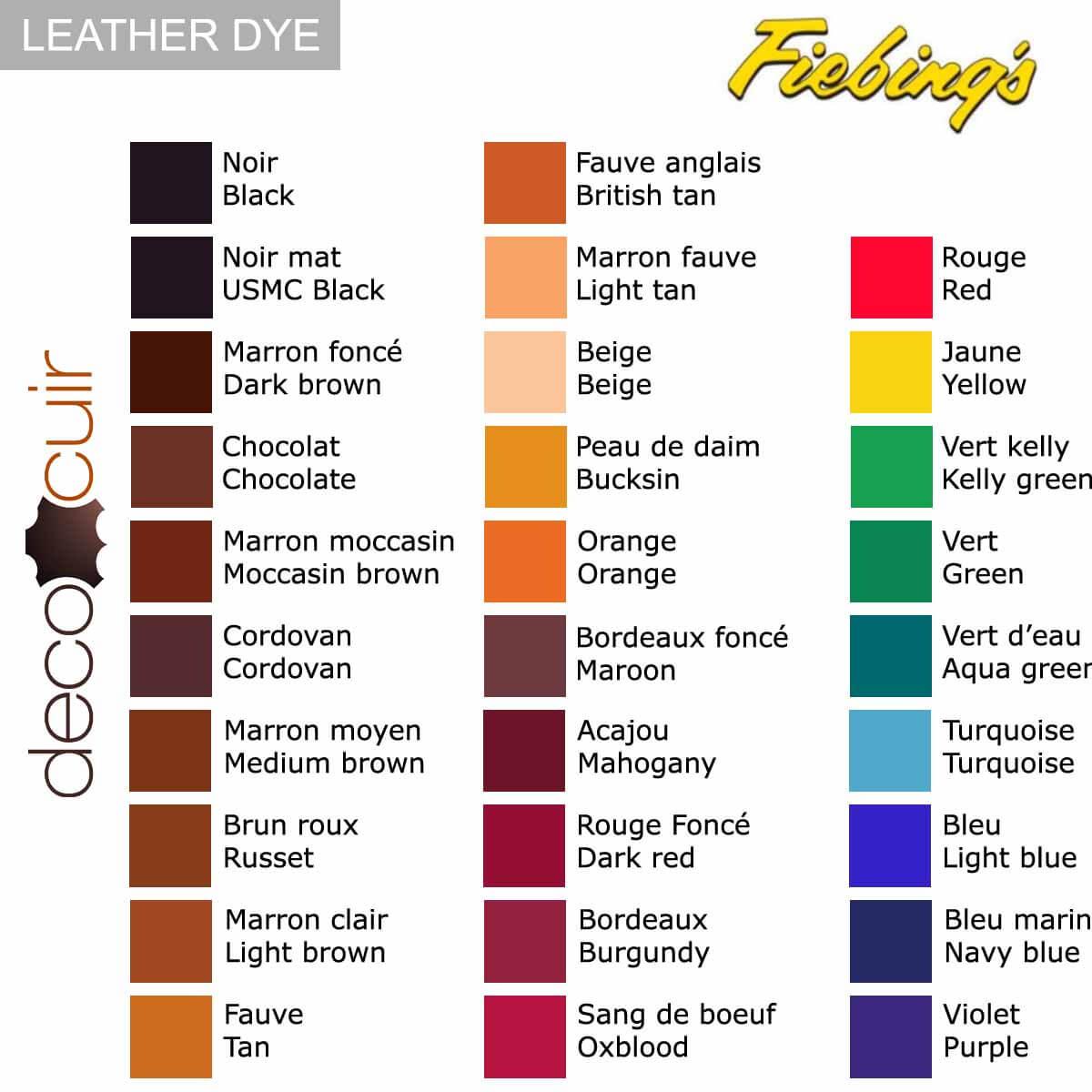 nuancier fiebing's leather dye