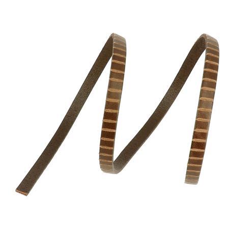 50 cm de lacet en cuir plat 6 mm PREMIUM - Chocolat, rainures transversales