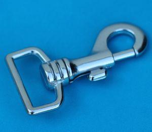 Mousqueton tournant à tirette - nickelé - 70x30 mm