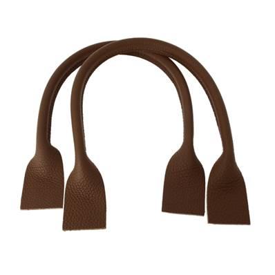 Paire de anses en cuir pour sac à main - CHOCOLAT - Longueur 51 cm