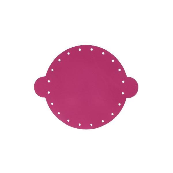 Cuir déja coupé pour faire une bourse en cuir ROSE - Diamètre 14,5 cm
