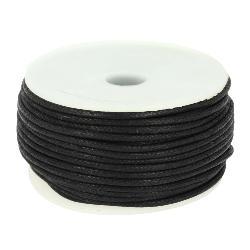 Bobine 25 m lacet coton tressé ciré 2 mm - NOIR