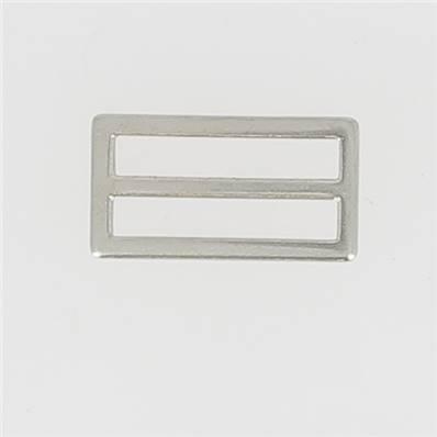 Passant double rectangulaire et plat - Nickelé - 30 mm
