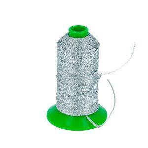 Bobine de 70 m de fil polyester tressé et poissé - diam 1 mm - ARGENT