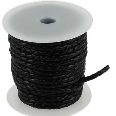 Lacet en cuir rond tressé - diamètre 3 mm - NOIR