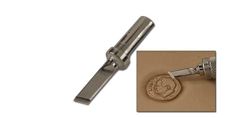 """Lame acier plate biseautée 1/8"""" pour couteau à ouvrir - Fixation 7/32"""" - TANDY"""