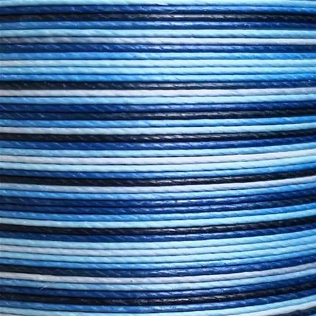 Cartonnette de 8m de fil de lin ciré MeiSi super fine M40 - 0,45 mm - DÉGRADÉ BLEU - MS071