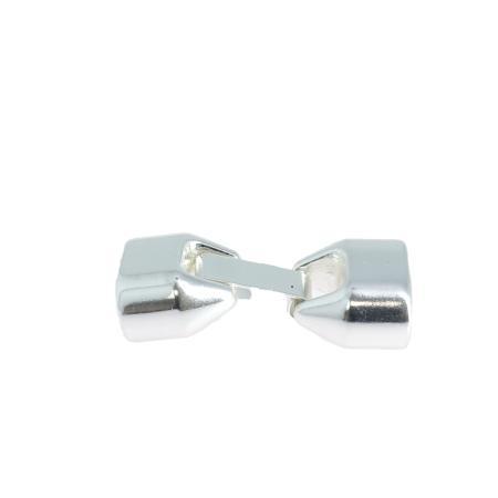 Fermoir bijou- Ovale crochet - Nickelé - Lacet plat 12 mm