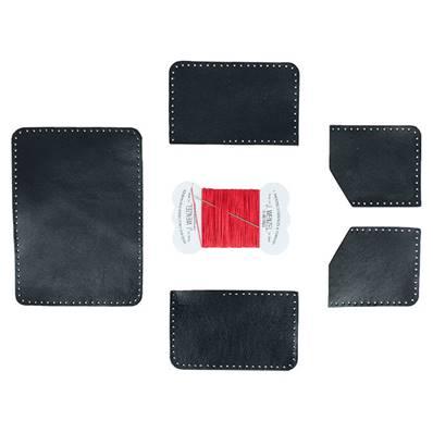 KitenCuir Porte Cartes double Noir - Fil rouge