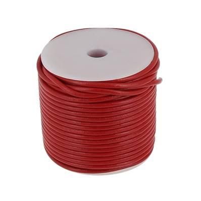 Lacet en cuir rond - diam 2,5 mm - ROUGE
