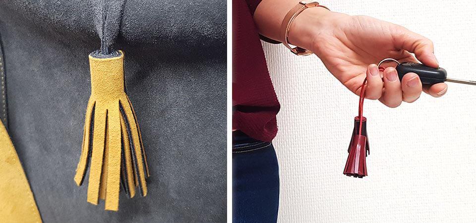 DIY   Pompons en cuir pour sac à main ou porte-clés