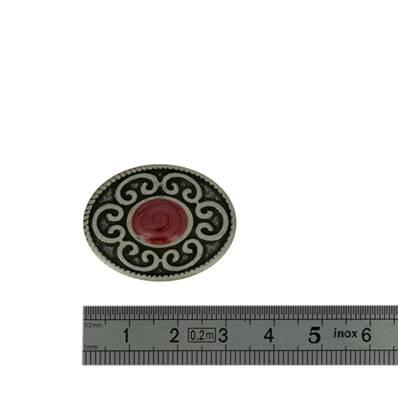 Concho BIJOU BYZANTIN pierre ROUGE - 31 x 25 mm - Argent vieilli